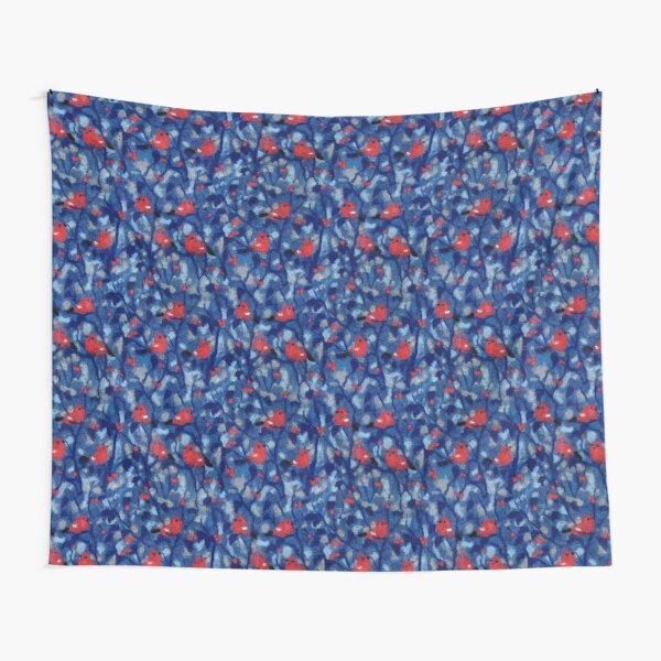 Bullfinches, Forest Birds Garden Evening Felted Wool Red Grey Blue Tapestry