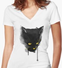 sumi cat Women's Fitted V-Neck T-Shirt