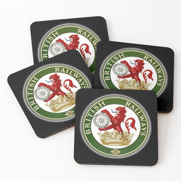 BRITISH RAILWAYS. BR, SIGN, Trains, Train Spotters, Railwayana, Circular variant, 1956 logo. Coasters (Set of 4)