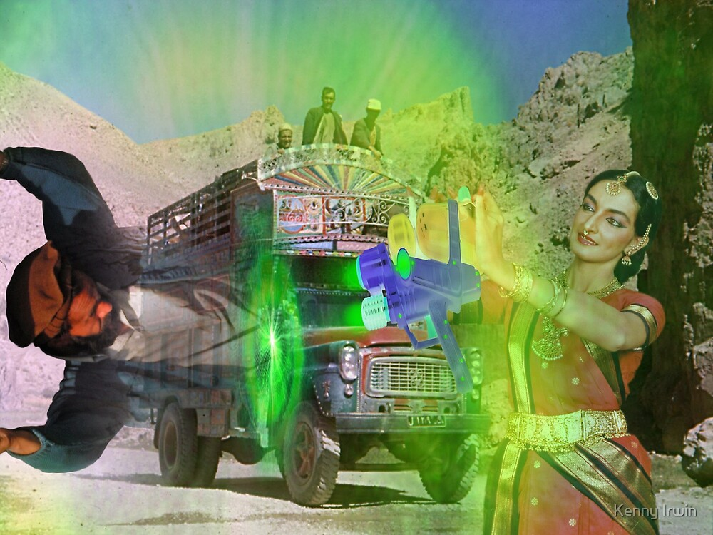 Surprised Pakistanis on the Karakoram Highway witness the Pocket Wormhole Gun by Kenny Irwin