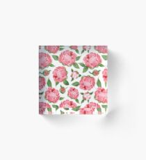 Watercolor Peonies Acrylic Block