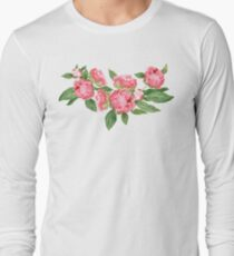 Watercolor Peonies Long Sleeve T-Shirt
