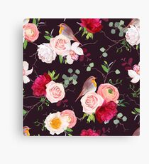 Dark natural vector seamless pattern with robin birds and bouquets Canvas Print