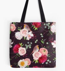 Dark natural vector seamless pattern with robin birds and bouquets Tote Bag