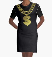 Gold Dollar Sign Medallion on Chain Graphic T-Shirt Dress