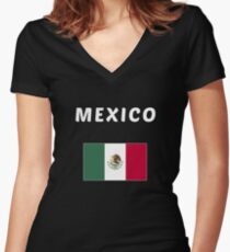 MEXICO APPAREL- National Flag Pride  Women's Fitted V-Neck T-Shirt