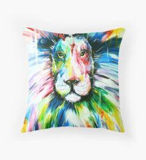 multi colour splash art lion! painting artwork Throw Pillow