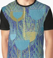Ferns and Palms, blue and yellow Graphic T-Shirt