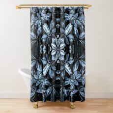 Metallische Blätter Mandala Duschvorhang