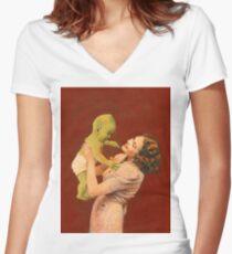 Vintage Alien Baby Women's Fitted V-Neck T-Shirt