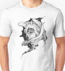 John Dickson Batten - Aladdin's Winged Genie Breaking Through with Sword in Hand Unisex T-Shirt