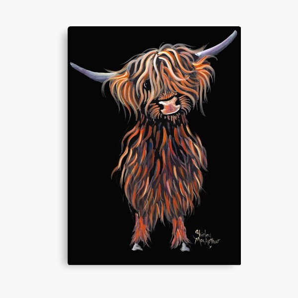 Scottish Hairy Highland Cow ' WEE MAC ' by Shirley Macarthur Canvas Print