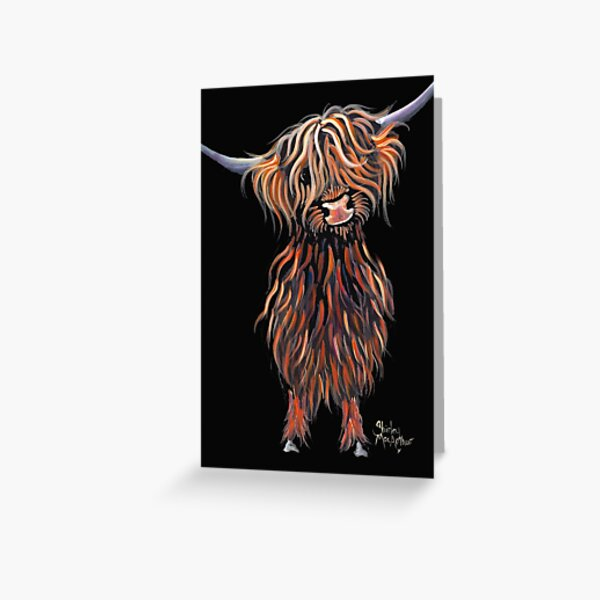 Scottish Hairy Highland Cow ' WEE MAC ' by Shirley Macarthur Greeting Card