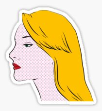 Retro blond girl portrait Sticker