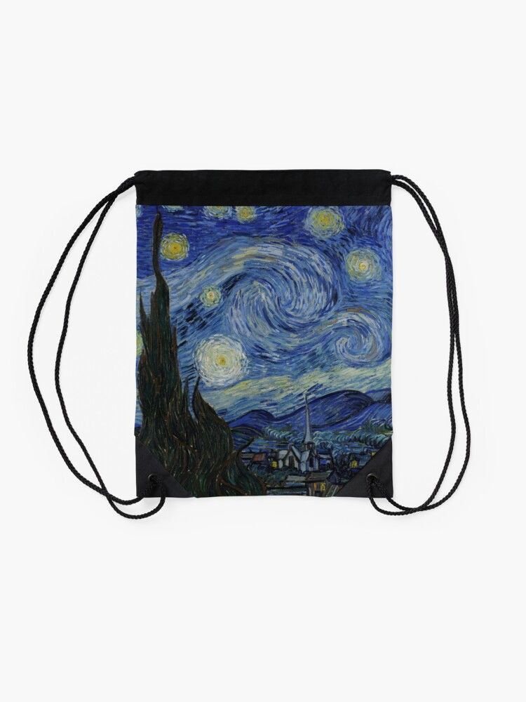 Alternate view of The Starry Night by Vincent van Gogh Drawstring Bag