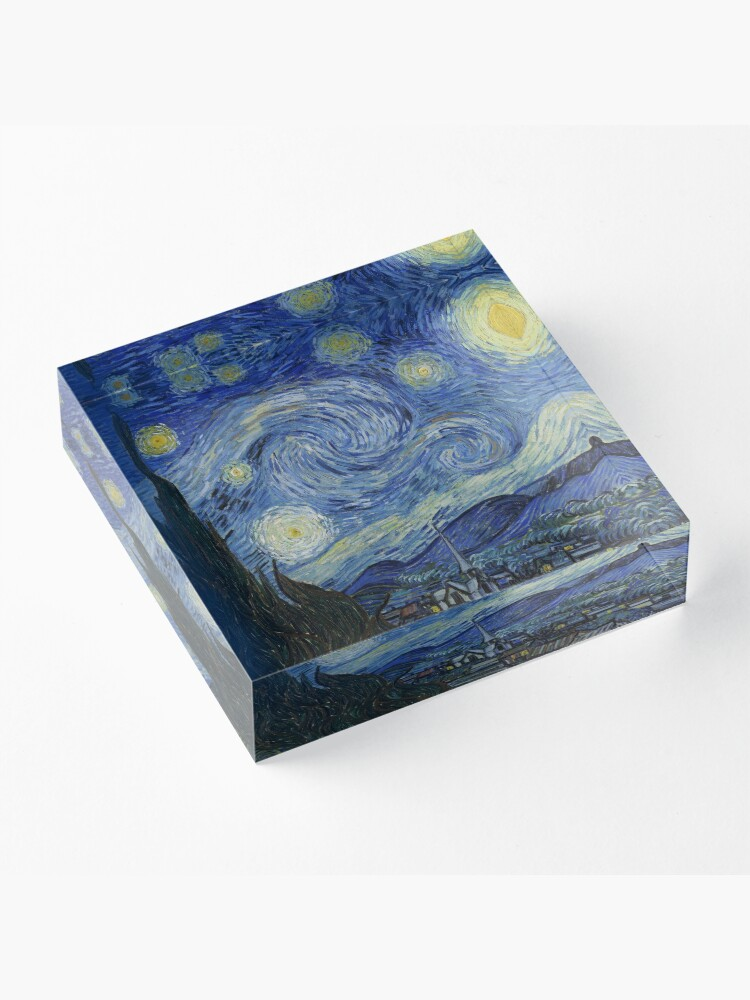 Alternate view of The Starry Night by Vincent van Gogh Acrylic Block