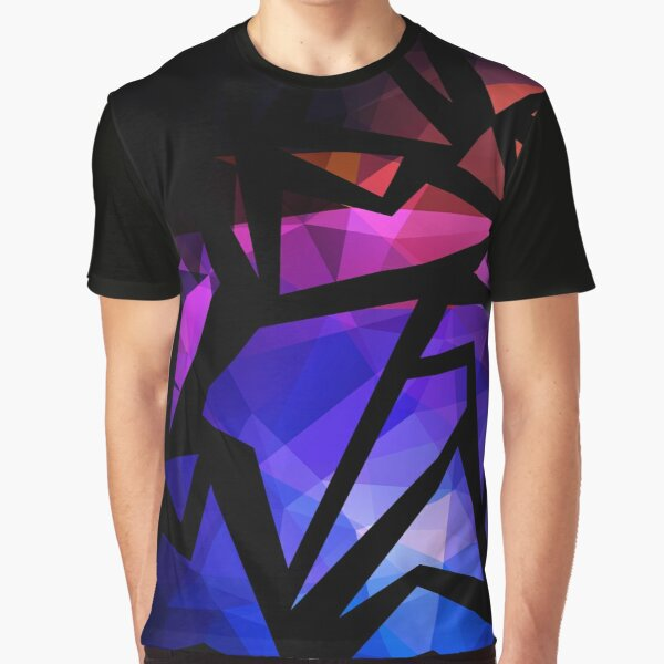 Abstract print of triangles polygon print. Bright dark design colors Graphic T-Shirt