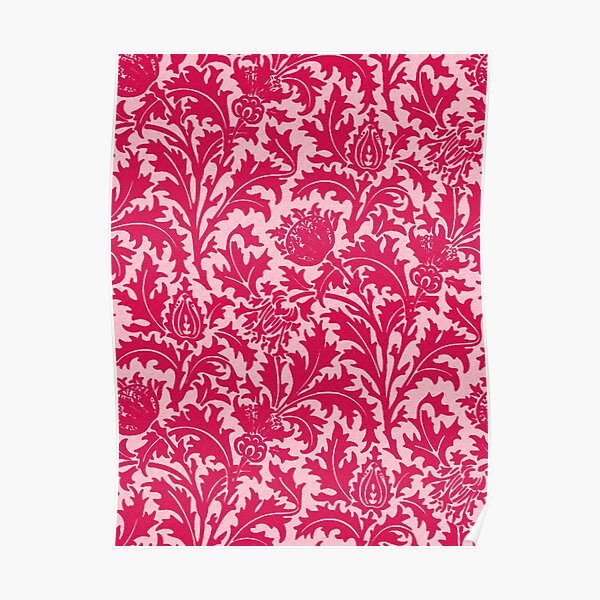 William Morris Thistle Damask, Fuchsia Pink  Poster