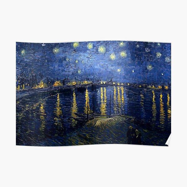 Noche estrellada sobre el Ródano de Vincent van Gogh Póster