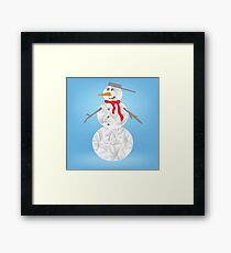 colorful illustration with christmas snowman on a blue  background Framed Print