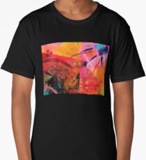 Warm Abstract Sun Fire Collage  Long T-Shirt