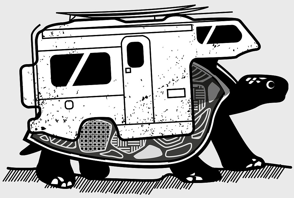Vanlife turtle adventurer camper art  by masatomio