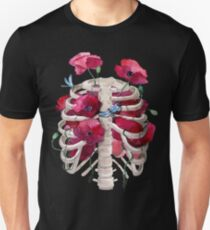 Rib cage with poppy  Unisex T-Shirt