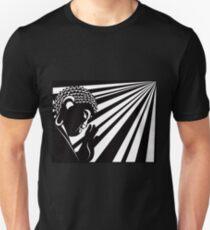 Buddha Raised Hand with Light Rays Black and White Illustration Unisex T-Shirt