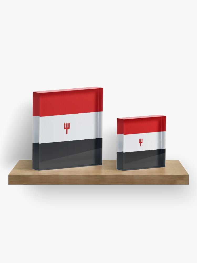 Alternative Ansicht von United Trident Design - Rot, Weiß & amp; Schwarz Acrylblock