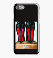 Christian Louboutin Pop Art Bright Black Red Bottom Heels iPhone Case/Skin