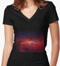 The Milky Way in Infrared Women's Fitted V-Neck T-Shirt
