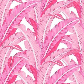 Pink banana leaves tropical pattern on white by MartaOlgaKlara