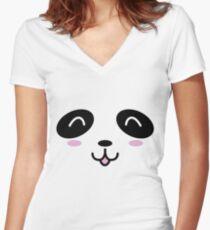 Panda cachorro (Baby Panda Bear) Women's Fitted V-Neck T-Shirt