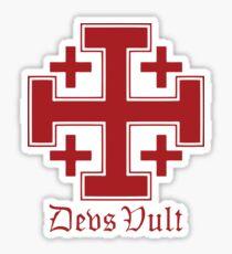 Deus Vult Cross (red) Sticker