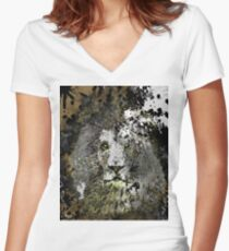 LION PRIDE INK SPLASH ANIMAL ABSTRACT PORTRAIT Women's Fitted V-Neck T-Shirt
