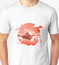 Red Sunset over Mountain Unisex T-Shirt