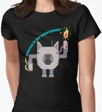 Science Is My Superpower Angry Funny Cat Science Robot Womens Fitted T-Shirt