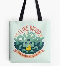 Creepy tentacle monster with a yellow rubber duck Tote Bag