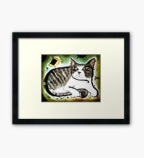 Grey Striped Cat Framed Print