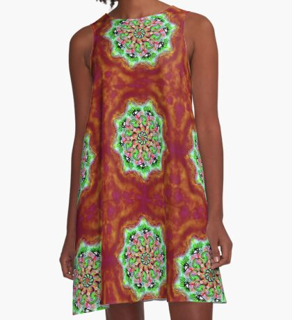 Spider Eye Mandala - Red BG A-Line Dress