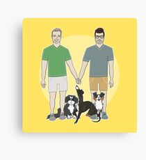 TIM + RICKY / Conkberry Family Portrait / cute family drawing gay family pet parents pet portrait love fur family Canvas Print