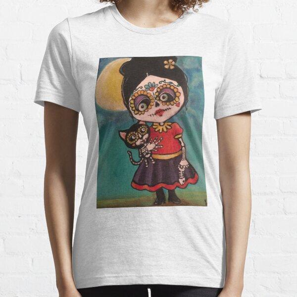 Sugar skull and kitty  Essential T-Shirt