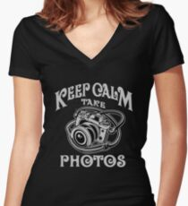 Photographer Gift - Keep Calm Take Photos Women's Fitted V-Neck T-Shirt