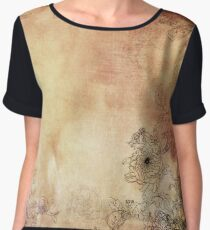 Flowers Painted And Textured  Chiffon Top