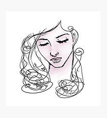 Line-art blush woman illustration Photographic Print