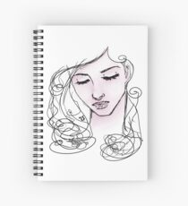 Line-art blush woman illustration Spiral Notebook