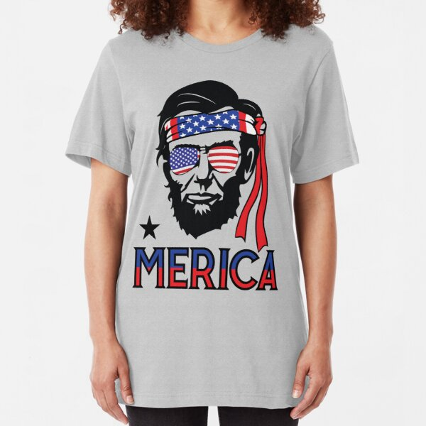 Merica - Funny Abe Lincoln 4th of July Hip American T-shirt Slim Fit T-Shirt