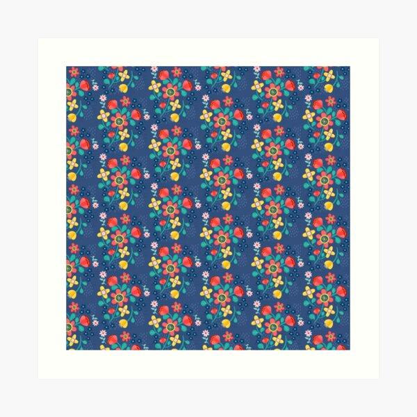 Flower Power In Blue Pattern  Art Print