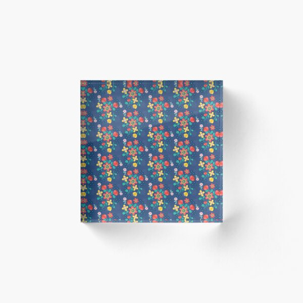 Flower Power In Blue Pattern  Acrylic Block