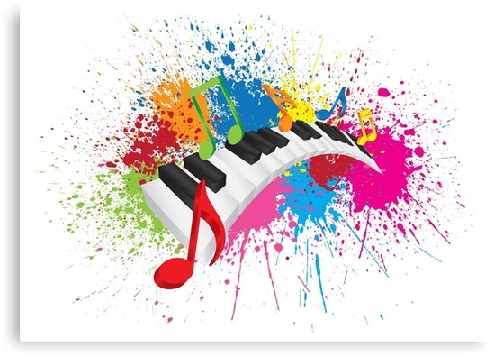 Piano Wavy Keyboard Paint Splatter Abstract Illustration by jpldesigns
